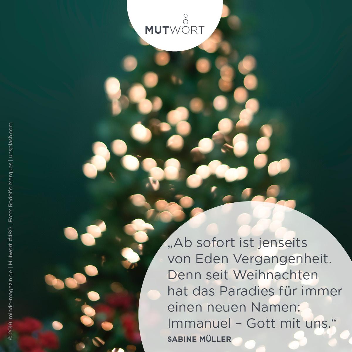 Ab sofort ist  jenseits von Eden Vergangenheit. Denn seit Weihnachten hat das Paradies für immer einen neuen Namen: Immanuel – Gott mit uns.  Sabine Müller