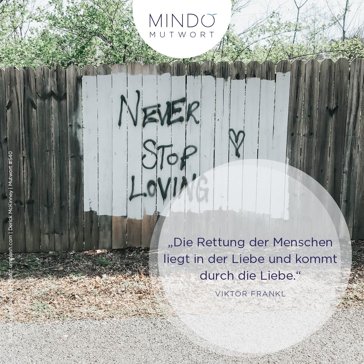 """""""Die Rettung der Menschen liegt in der Liebe und kommt durch die Liebe."""" – Viktor Frankl"""